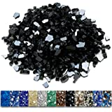 Grisun Black Fire Glass for Fire Pit, 1/2 Inch High Luster Reflective Tempered Glass Rocks for Natural or Propane Fireplace,