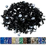 Grisun Black Fire Glass for Fire Pit, 1/2 Inch High Luster Reflective Tempered Glass Rocks for Natural or Propane…