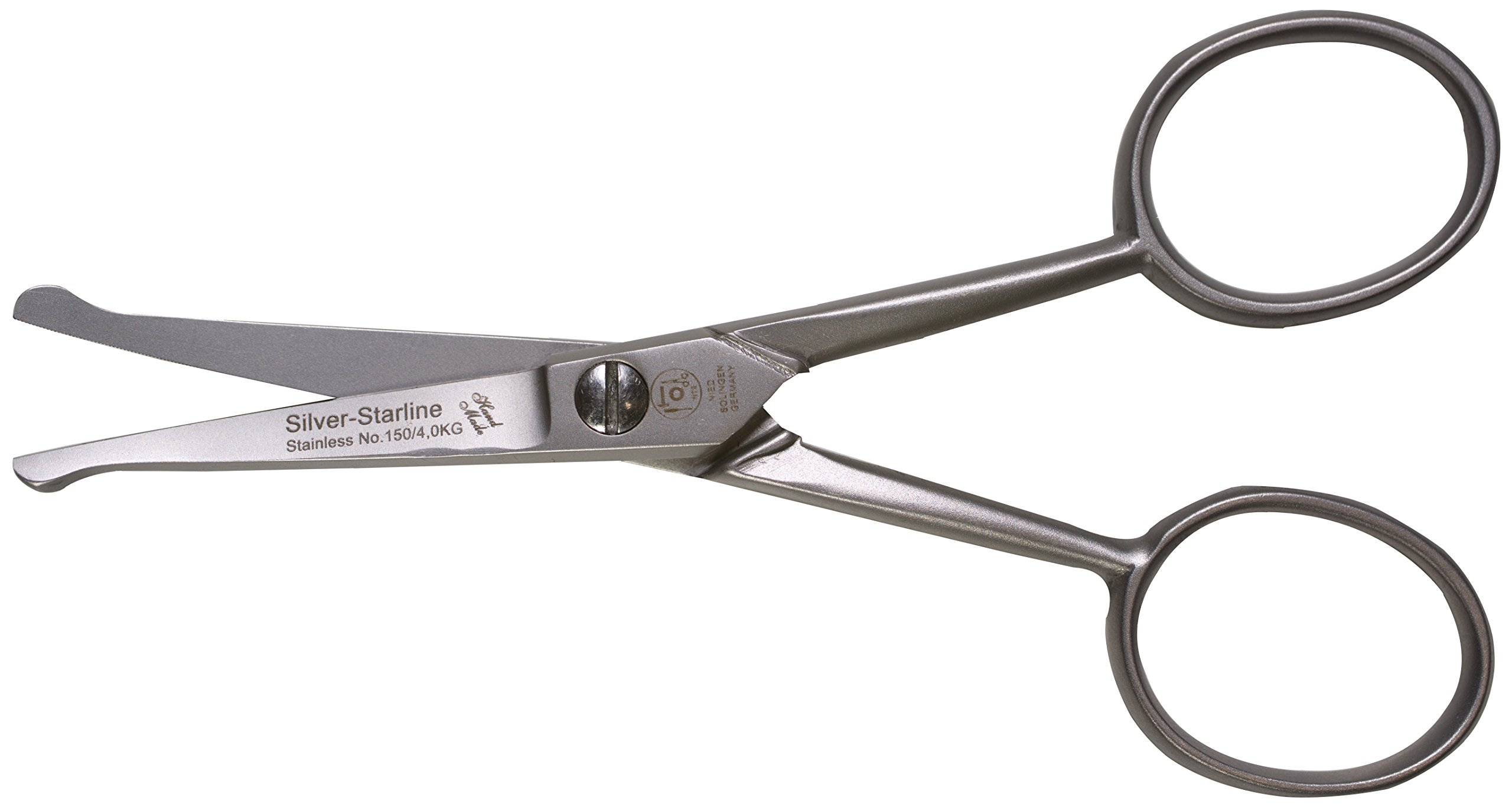 Silver Starline Combination Scissors for Beard, Nose, and Moustache, 4.15 Inches, Stainless Steel with Serrated Edge, Made in Solingen, Germany