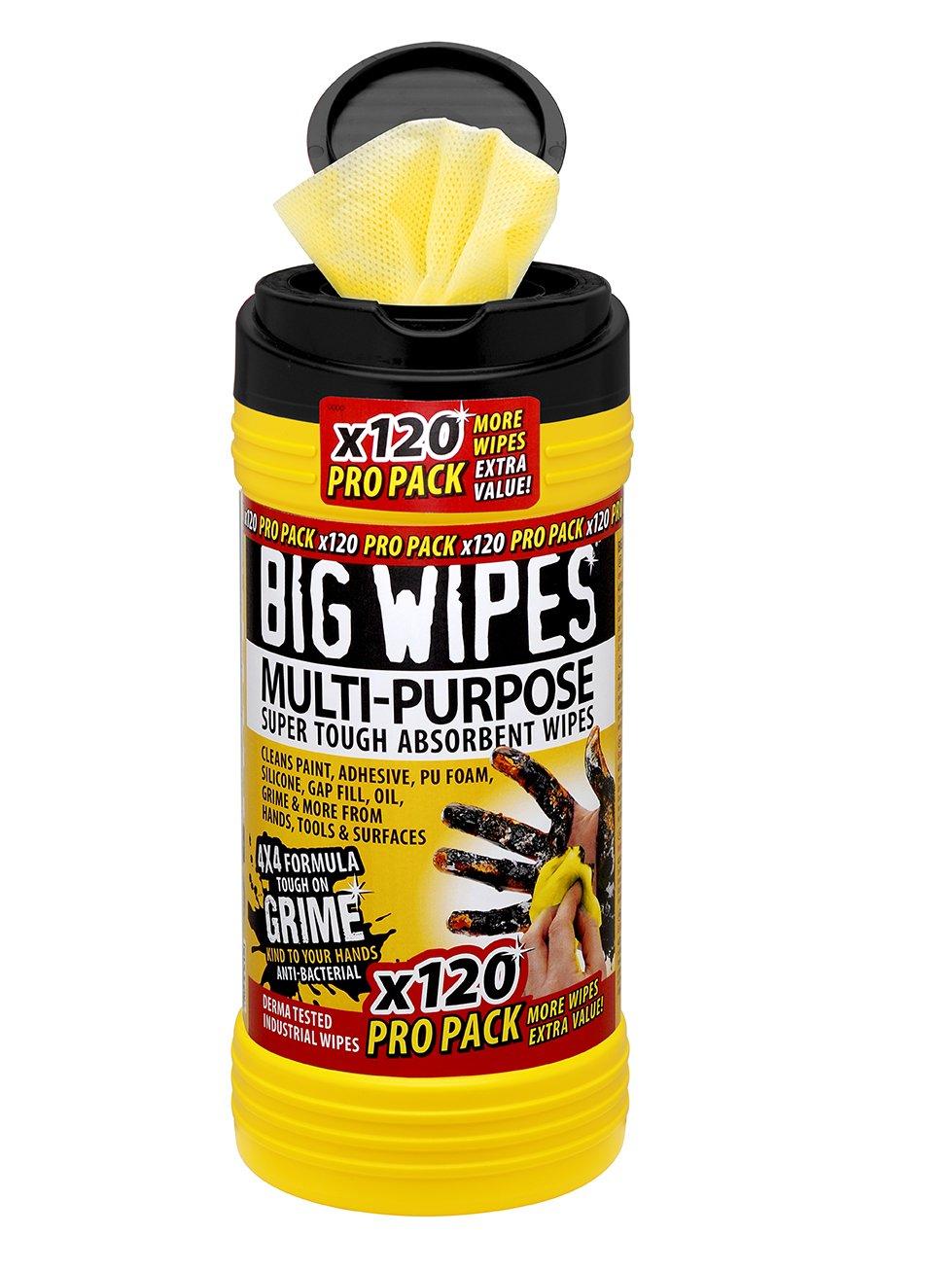 Big Wipes 2412-4 X 4-Pulgadas Multi-Propó sito Pañ os De Limpieza (Paquete De 120) Sycamore UK Ltd