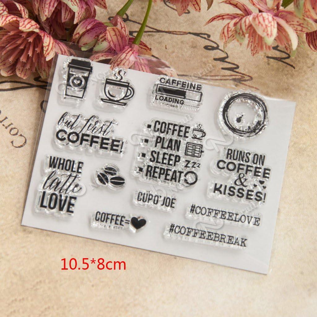 Silikon Stempel Set Schneiden Schablonen ECMQS Coffee DIY Transparente Briefmarke Clear Stamps Bastelei Scrapbooking-Werkzeug
