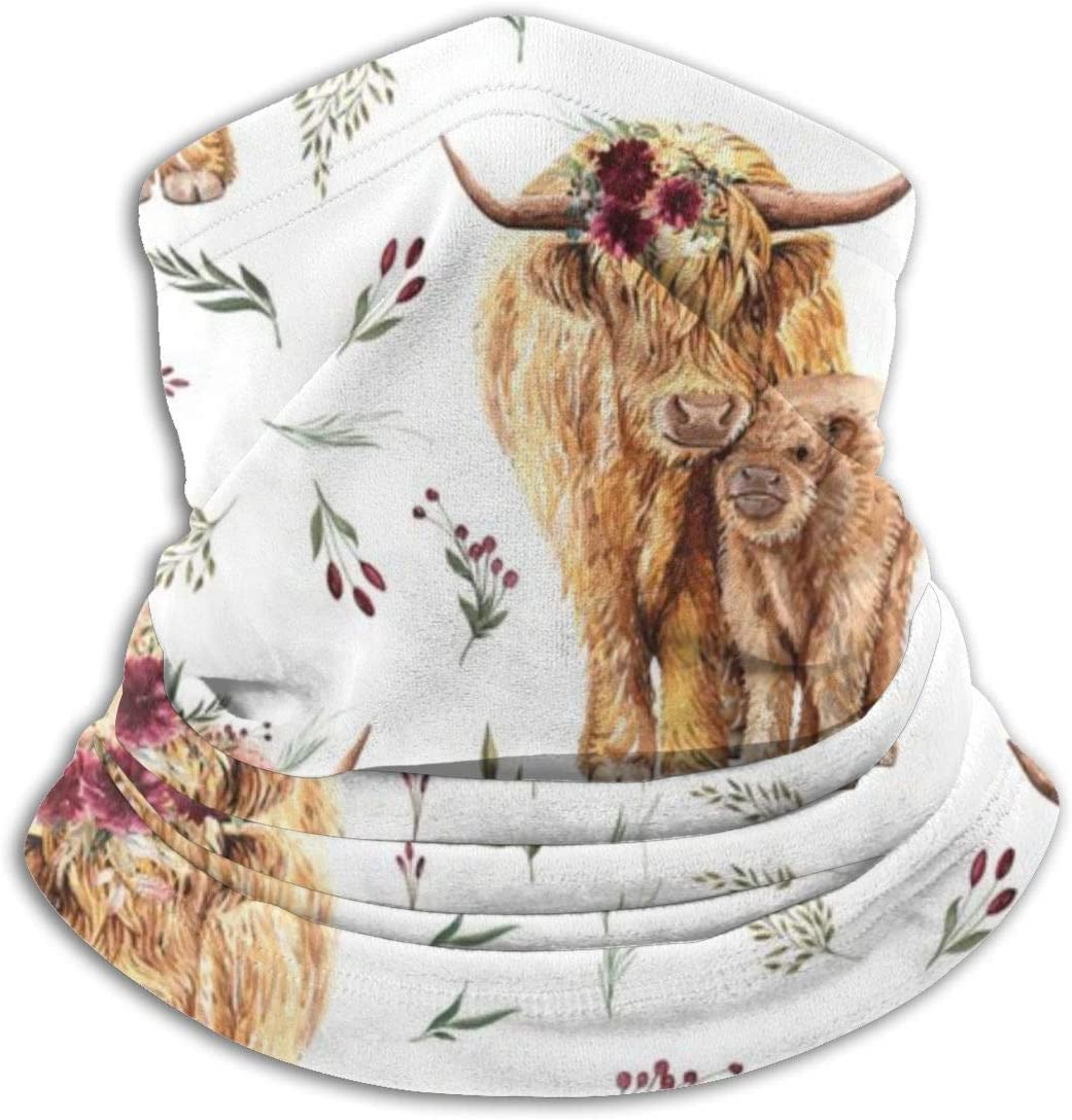 Cocoal-ltd Highland Cows With Leaves And Maroon Floral Unisex Microfiber Neck Warmer Neck Gaiter Face Mask Men Multifunctional Bandana Balaclava Women Scarf Head Wrap Mask Dust Wind Sun UV Protection