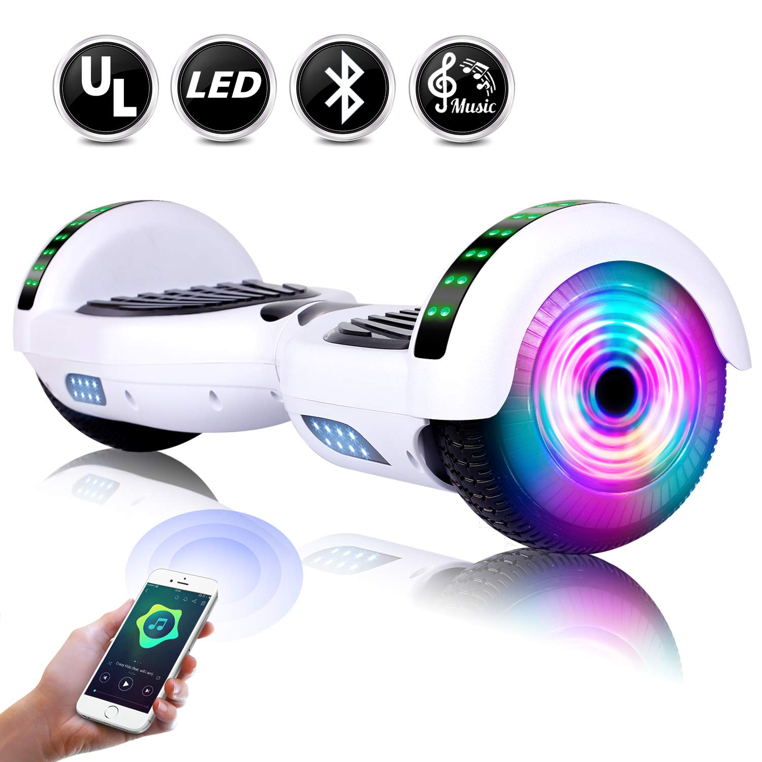 EPCTEK Hoverboard – UL2272 Self Balancing Hover Board w Bluetooth Speakers, LED Light