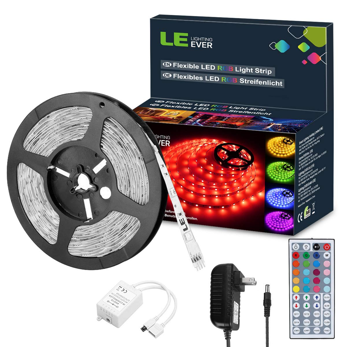 LE 12V LED Strip Light Kit, 150 Units SMD 5050, 16.4ft Ribbon Light Kit with Remote Controller, for Home, Kitchen, Bedroom, Under Cabinet and More, Power Adapter Included, RGB