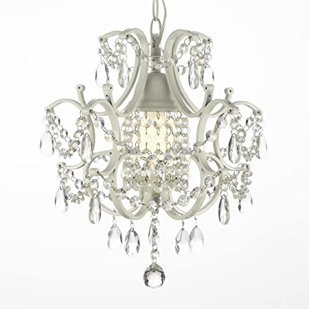 Jac D Lights J10-592 1 Wrought Iron Crystal Chandelier, 14x11x1-Inch, White