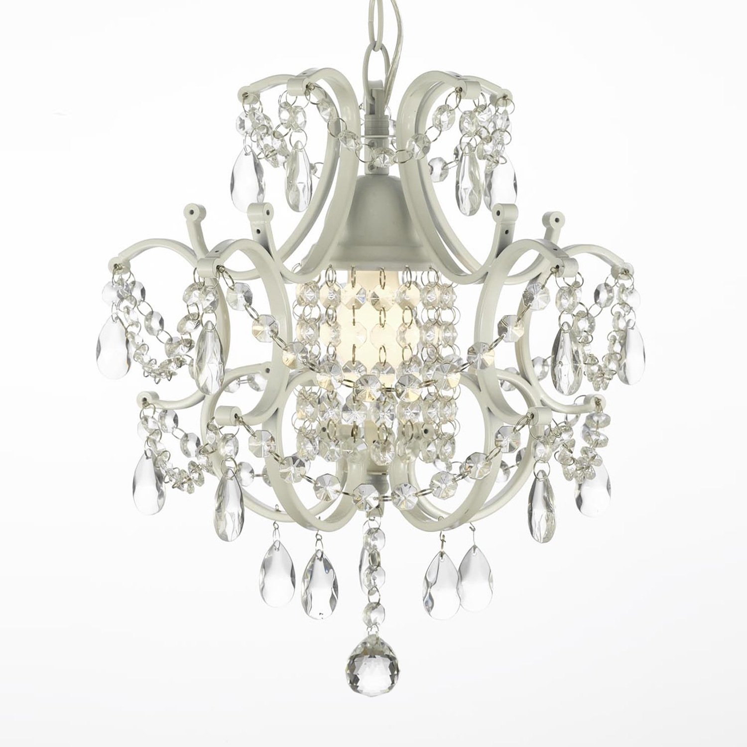 Wrought Iron Crystal Chandelier Lighting Country French White, One Light, Ceiling Fixture Swag Plug in Kit w/14' Feet of Hanging Chain Wire Plugin