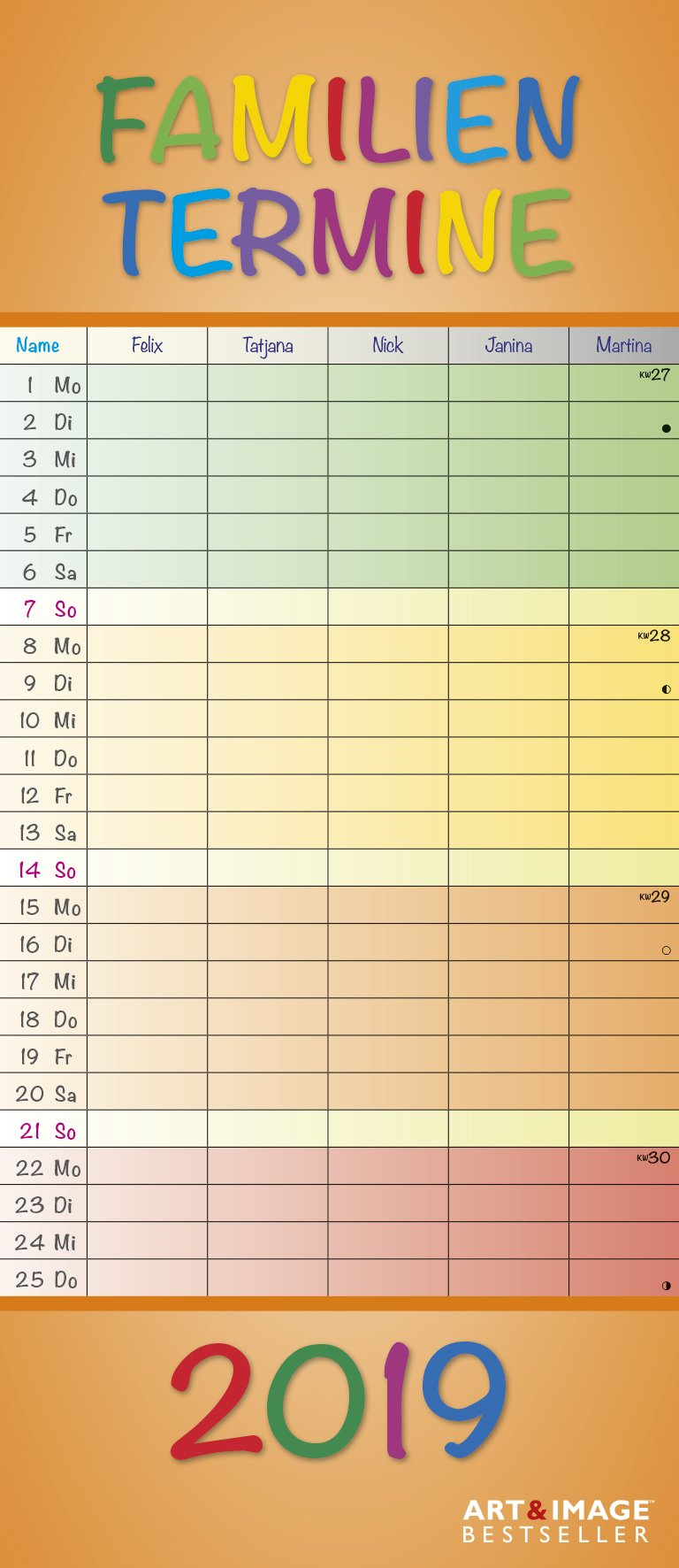 Regenbogen 2019 - A&I Familienplaner mit 5 Spalten, Familienkalender  -  19,5 x 45 cm