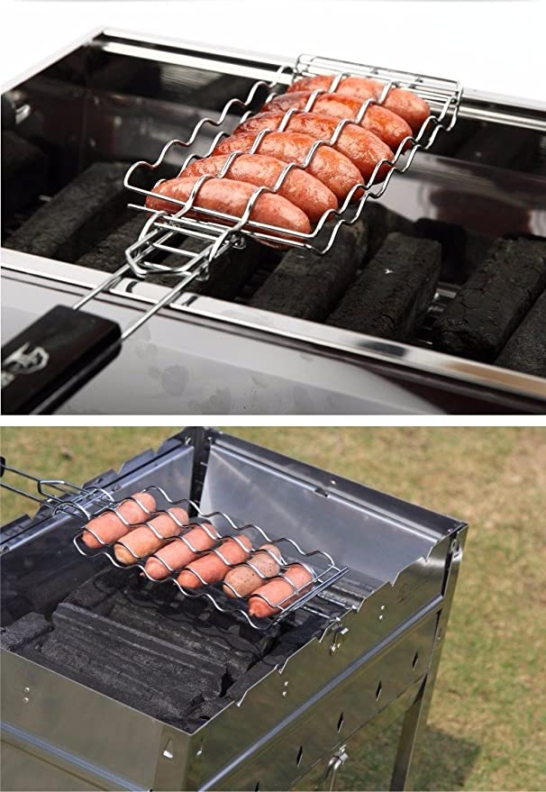Amazon.com : BOCOMO Barbecue Sausage Grilling Basket Hot Dog Rack Metal Mesh Baskets Grill Rack Barbecue Baskets Great grill for 6 hot dogs54cm x 12cm x ...