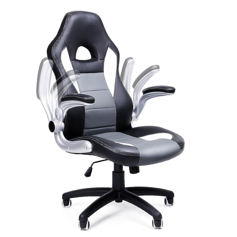 SONGMICS OBG28G Racing Stuhl, ergonomischer Bürostuhl, schwarz, grau ...