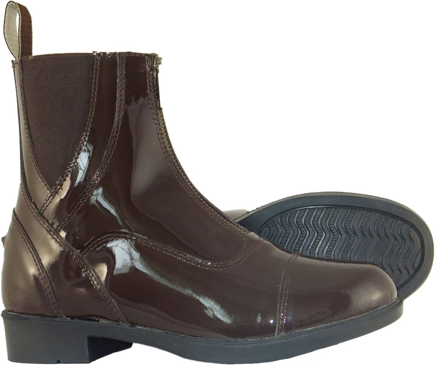 Joy Rider Patent Leather Horse Riding Front Zip Jodhpur Boots in and Sizes