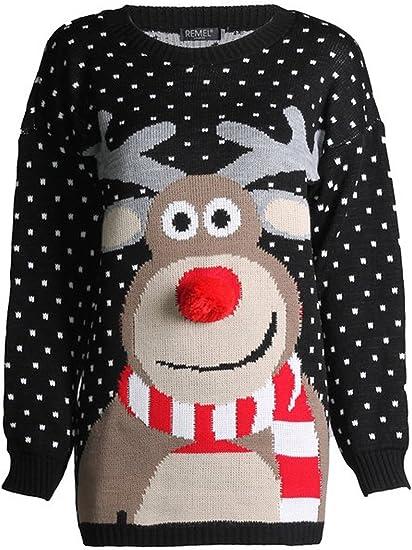 Ladies Women Novelty Xmas Reindeer /& Snowflakes Christmas Knitted Sweater Jumper