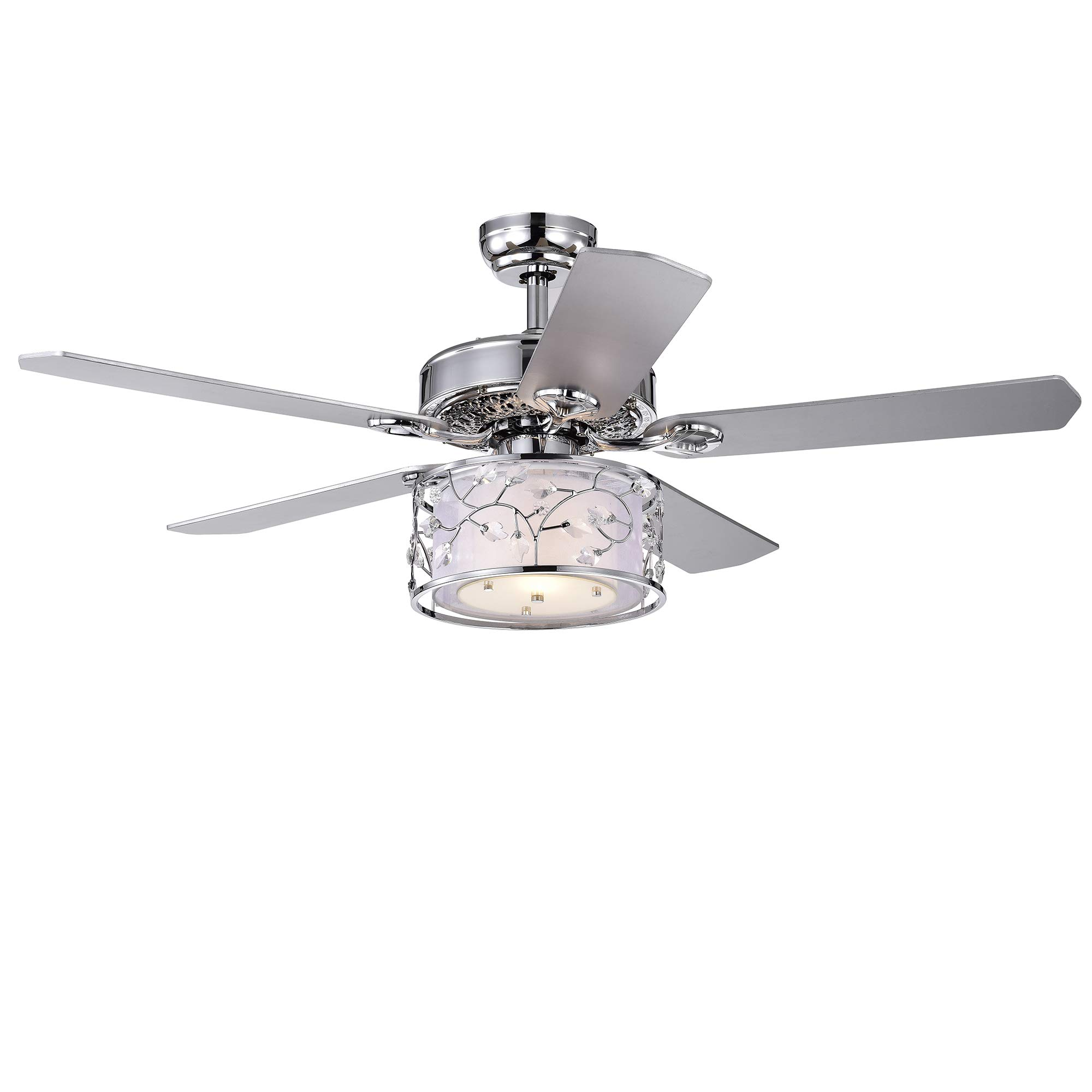 Warehouse of Tiffany CFL-8403REMO/CH Swerl 52-inch 1 Multi-Layered Shade (Includes Remote and Light Kit) Ceiling Fan, Silver