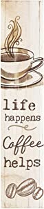 P. Graham Dunn Life Happens Coffee Helps Whitewash 7.25 x 1.5 Inch Wood Vertical Tabletop Block Sign