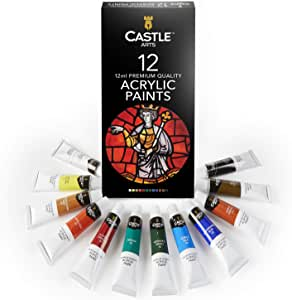 Castle Art Supplies Acrylic Paint Set 12 Colors for Beginners, Students or Professional Artists, 12ml Tubes for Canvas, Wood, Ceramic, Fabric. Non Toxic & Vibrant Colors