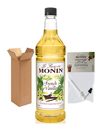 Monin French Vanilla Syrup, 33.8-Ounce Plastic Bottle (1 Liter) with Monin