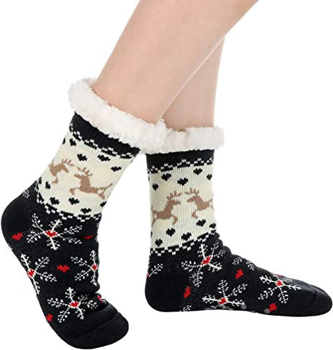 Womens Thick Knit Sherpa Lined Cozy Thermal Fuzzy Slipper Socks White//Black//Red