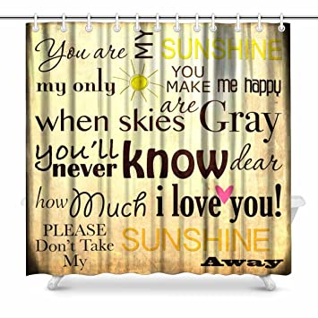 InterestPrint You Are My Sunshine Word Art Vintage Background Bathroom Shower Curtain Accessories 72W X