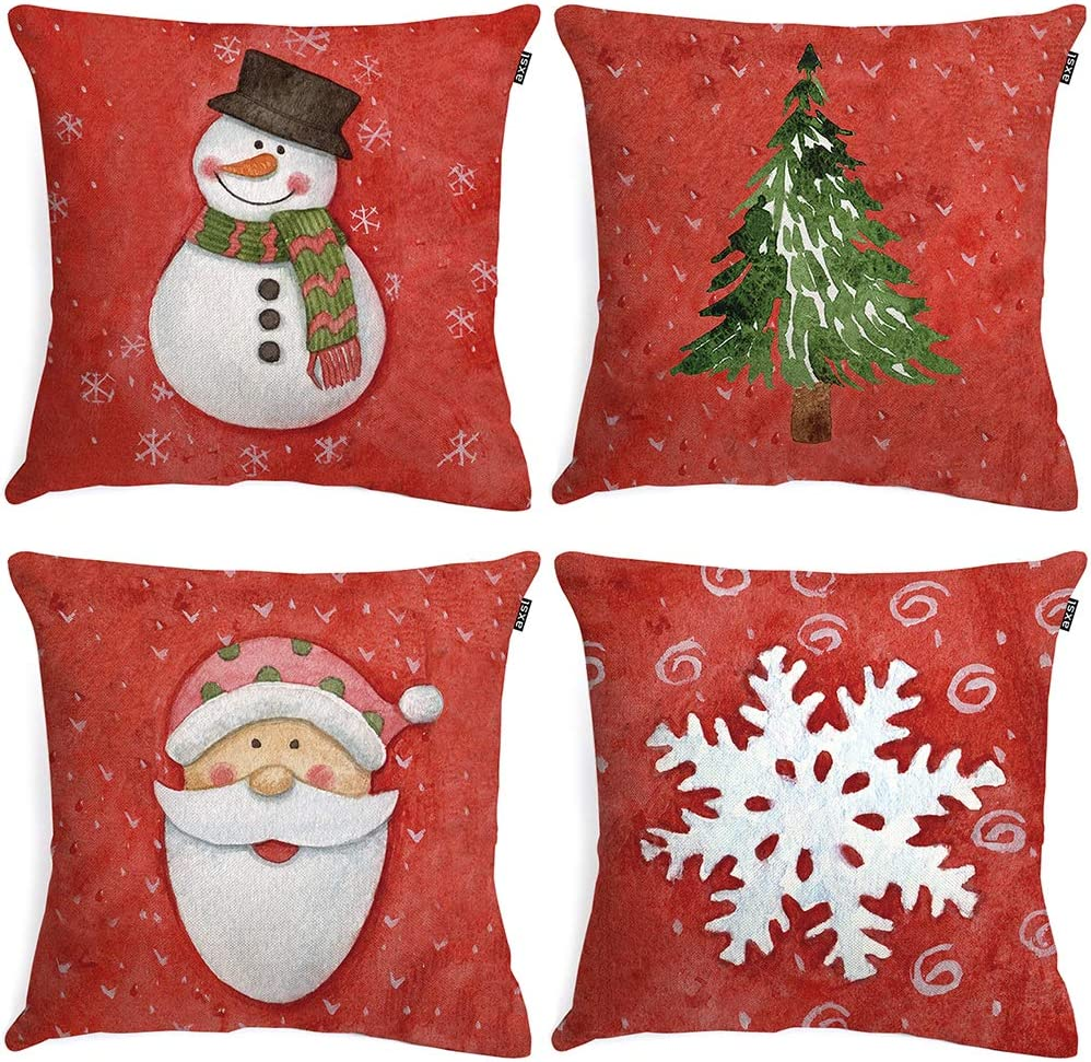 axsl Christmas Red Pillow Covers Set of 4Throw Pillow Covers Plaid Cuhion Covers Case for Couch Sofa Home Decoration Fall Pillows Linen 18 X 18 Inches