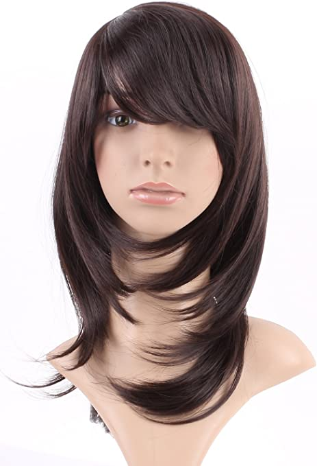 S-noilite Fashion pelo largo liso peluca recta capa ondulado fibra ...