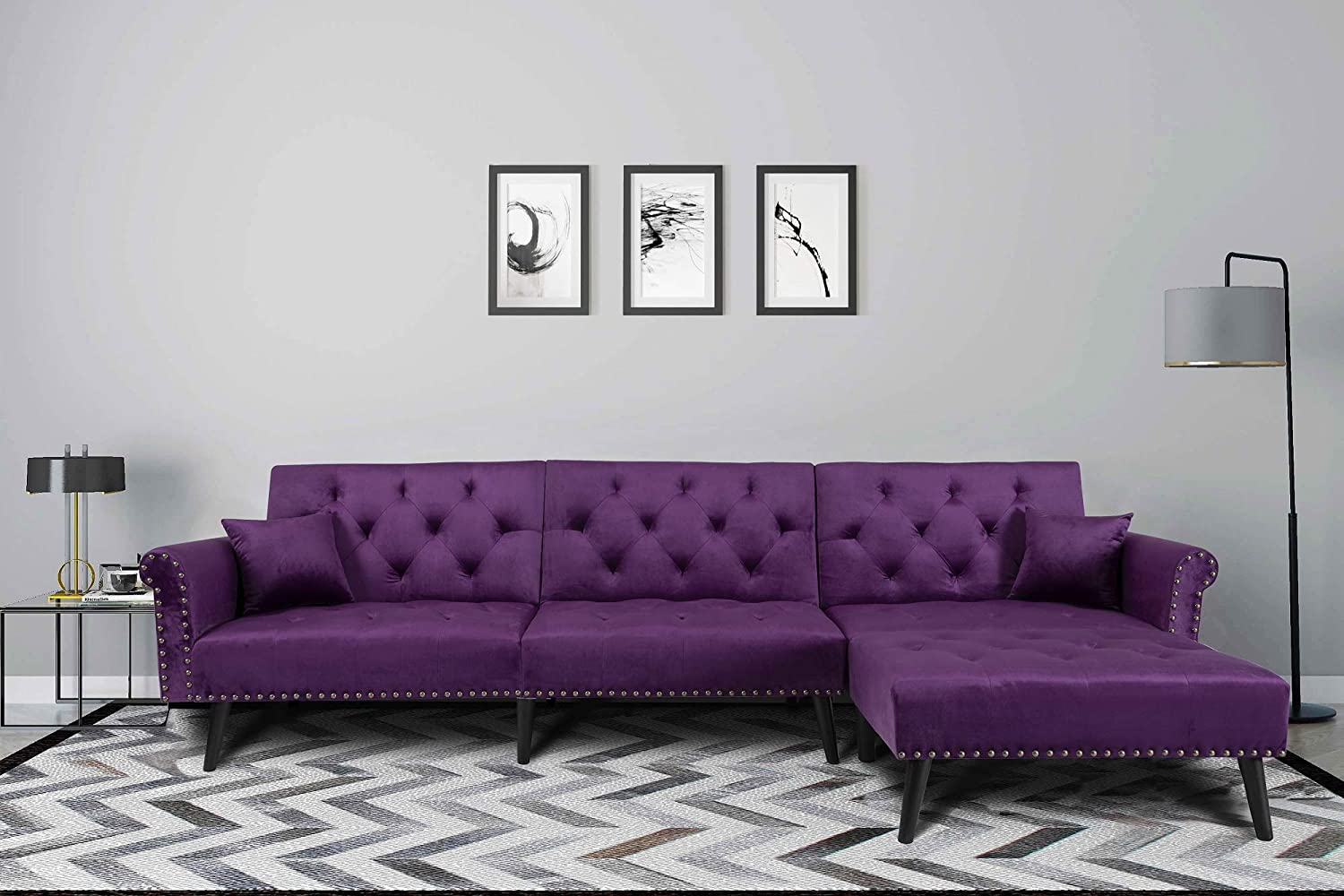 Upholstered Mid Century Sectional Sofa Futon Couch with Reversible Chaise with Adjustable Back Sofa Bed (Purple)