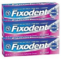 Fixodent Complete Original Denture Adhesive Cream 1.4 Oz - Set of 3