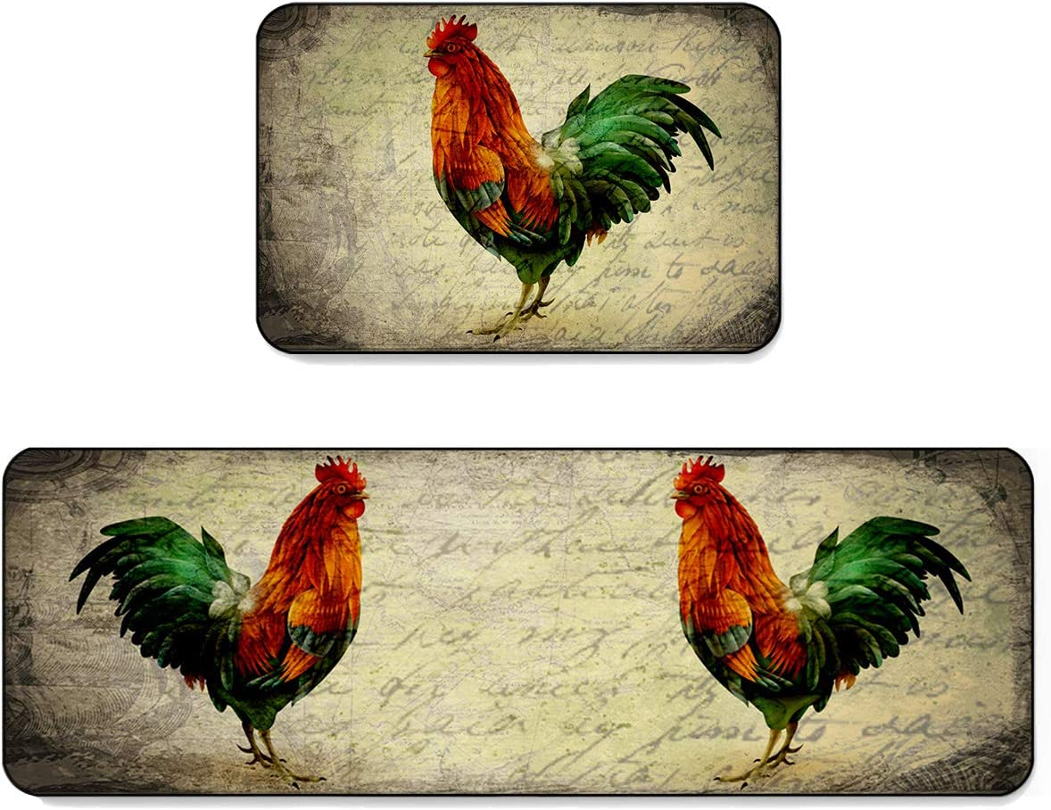 SUN-Shine Farmhouse Rooster Kitchen Rugs and Mats 2 Pieces,Retro Farm Chicken Decorative Carpet Floor Mat for Home Area Runner Non Slip Doormat