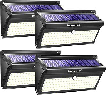 Focos Solares, Luposwiten 100 LED Lamparas Solares Exterior, 2000LM Luz Solar Exterior con Sensor de Movimiento, 2400mAh Luces Solares para Jardins, Garaje, Acera, Escaleras(4 Pieza): Amazon.es: Iluminación