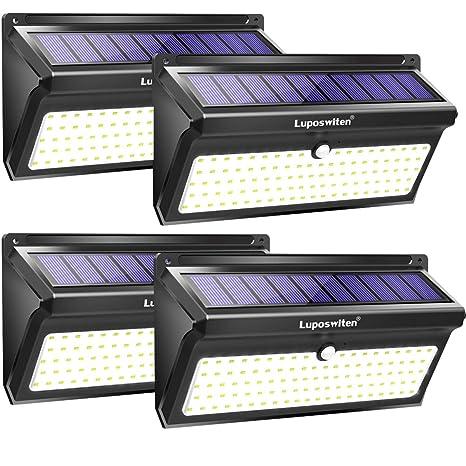 Focos Solares, Luposwiten 100 LED Lamparas Solares Exterior, 2000LM Luz Solar Exterior con Sensor