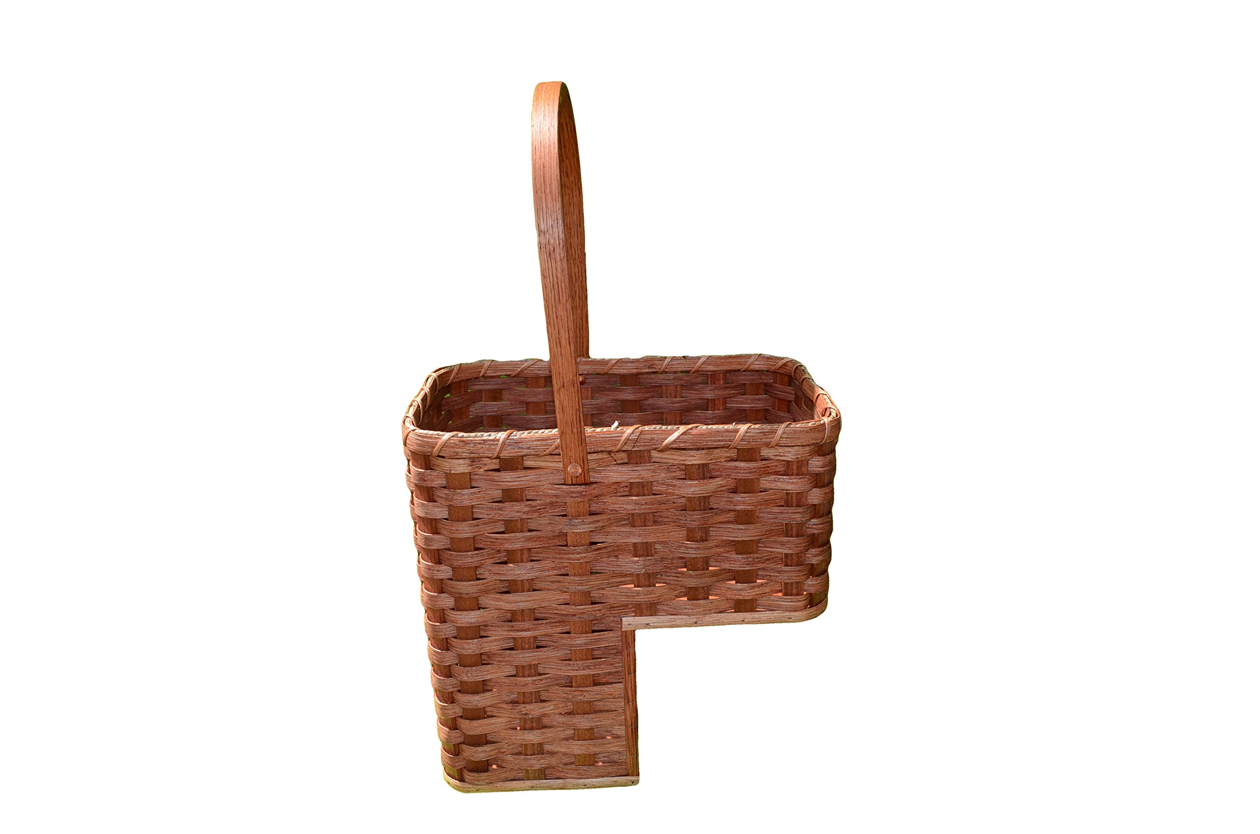 Large 9'' stair step basket. Beautifully rests on your stairsteps. Swivel handle, all natural material and made by Old Order Amish. The up splints that are used are on these baskets are oak. Perfect for storing books and magazines. Colors may vary.