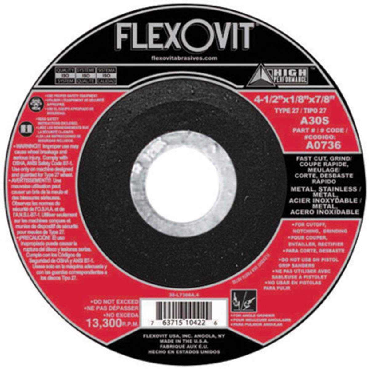 FlexOVit 9'' X 1/8'' X 5/8'' - 11 A30S Aluminum Oxide HIGH PERFORMANCE Fast Cut Type 27 Spin-On Depressed Center Cut Off And Grinding Wheel For Use, Package Size: 10 Each by FlexOVit Abrasives
