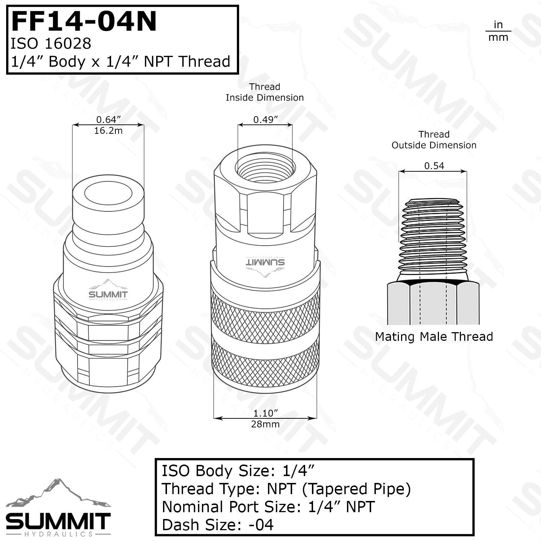 1//4/″ Flat Face Hydraulic Quick Connect Female Coupler 1//4/″ NPT Thread Summit Hydraulics