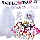 5 pcs Velo de Novia + Bride to be Insignia Liga Banda Pancarta para Disfraces de Fiesta de Despedida de Soltera Novia a Ser Velo Corto Gallina Noche