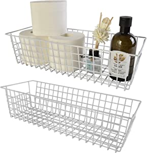 Wire Storage Baskets, 2 Pack Farmhouse Metal Wire Rustic Toilet Paper Basket, Food Organizer Bins with Handles for Kitchen Cabinets, Pantry, Closets, Bedrooms, Bathrooms, Office, Garage (White)