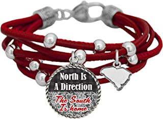 product image for South Carolina North is a Direction South is Home Red Leather Bracelet Southern Jewelry
