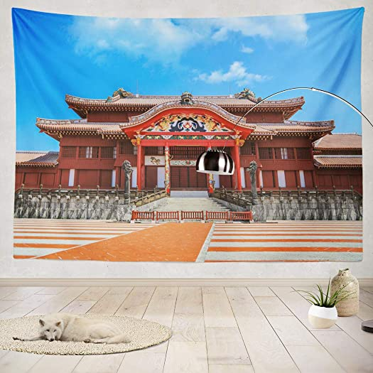 ONELZ Decor Collection,Shuri Castle Okinawa Bedroom Living Room Dorm Wall Hanging Tapestry 50 L X 60 W Polyester Polyester Blend