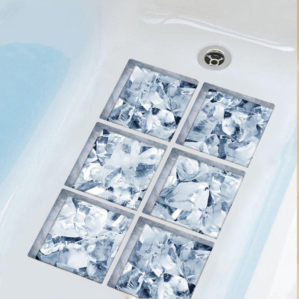 ChezMax 3D Stereoscopic Ice Cubes DIY Anti Slip Safety Shower Bath Tub Decal Stickers Bathtub Appliques 6 Pcs 5.9'' X 5.9''