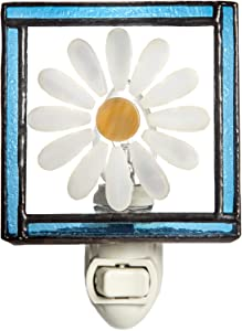 Flower Night Light Decorative Accent Lite Wall Plug in Nightlight for Hallway Bedroom Bathroom Nursery Kitchen Blue Daisy Home Décor J Devlin NTL 210-2