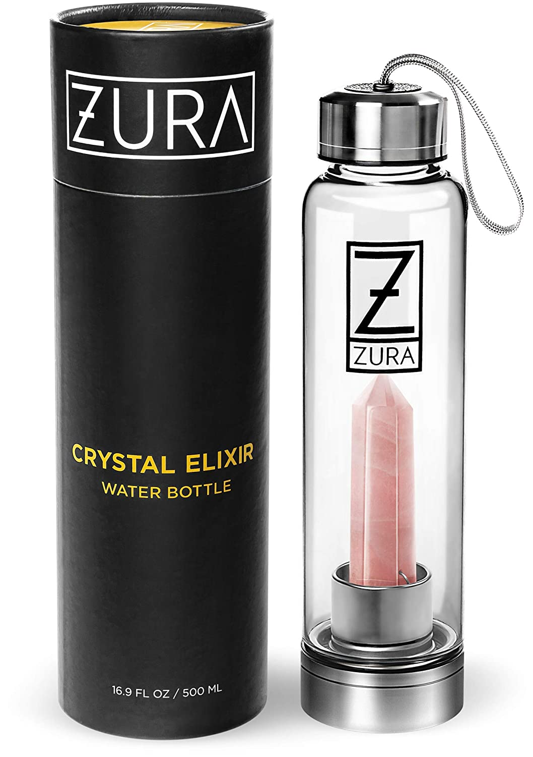 ZURA Amethyst Crystal Infused Water Bottle – 18 oz – Shatter-Resistant – Removable Crystal– Glass and Stainless Steel Includes Protective Sleeve