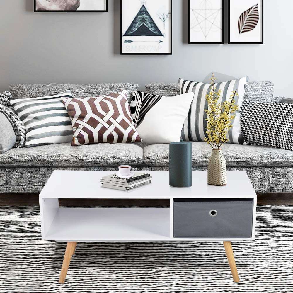 Aingoo Modern Coffee Table Mid Century 36IN with Drawer Display Rack Wooden Leg Particle Board by Aingoo