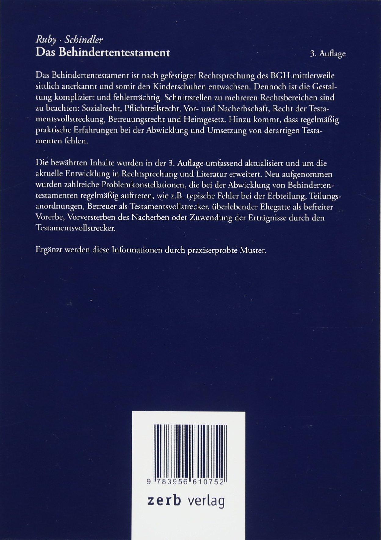 das behindertentestament 9783956610752 amazoncom books - Behindertentestament Muster