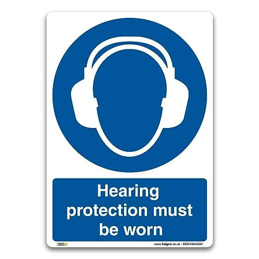 Protección auditiva debe ser usado señal - vinilo autoadhesivo ...