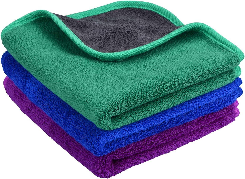 Mayouth Microfasertuch Autopflege Trockentuch Premium Auto Microfaser Tuch 3er Reinigungstuch Handtuch Für Auto Fenster Glas Küche Auto