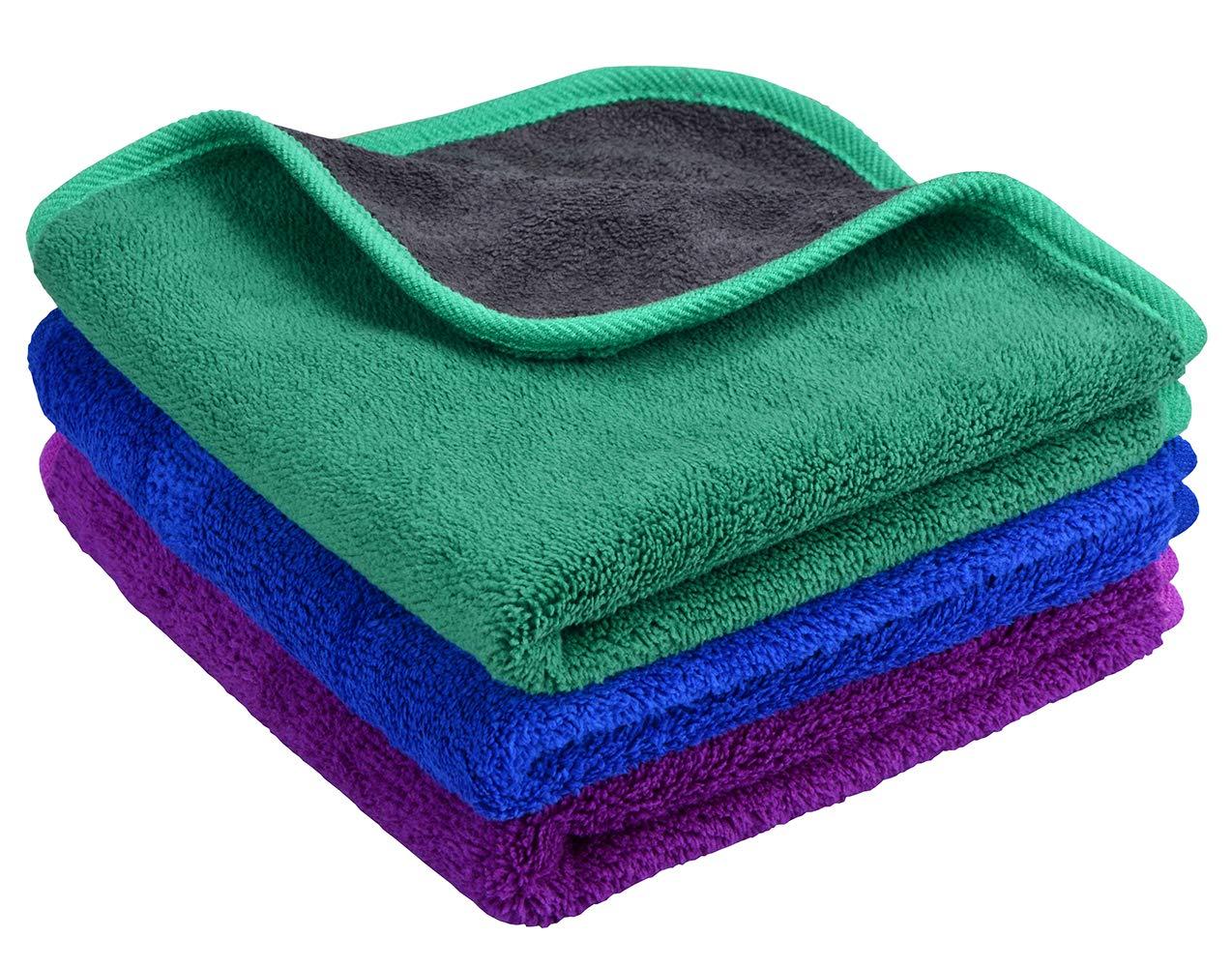 para pulir el Coche 600 g//m/² de Felpa Mayouth Gruesas superabsorbentes Toallas de Microfibra para Limpieza de Coches