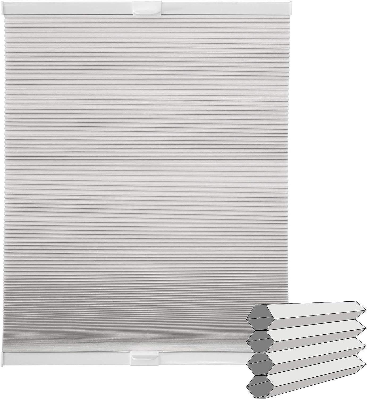 Victoria M. Estor Plisado Doble/Estor Plegable Panal de Abeja con fijación Klemmfix - Montaje sin perforar! 40 x 130cm, Blanco