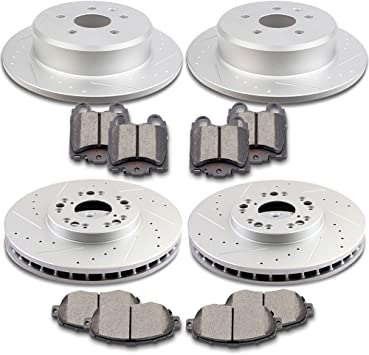 For GS300 GS400 IS300 SC430 Front Rear drilled Slotted Brake Rotors Ceramic Pads
