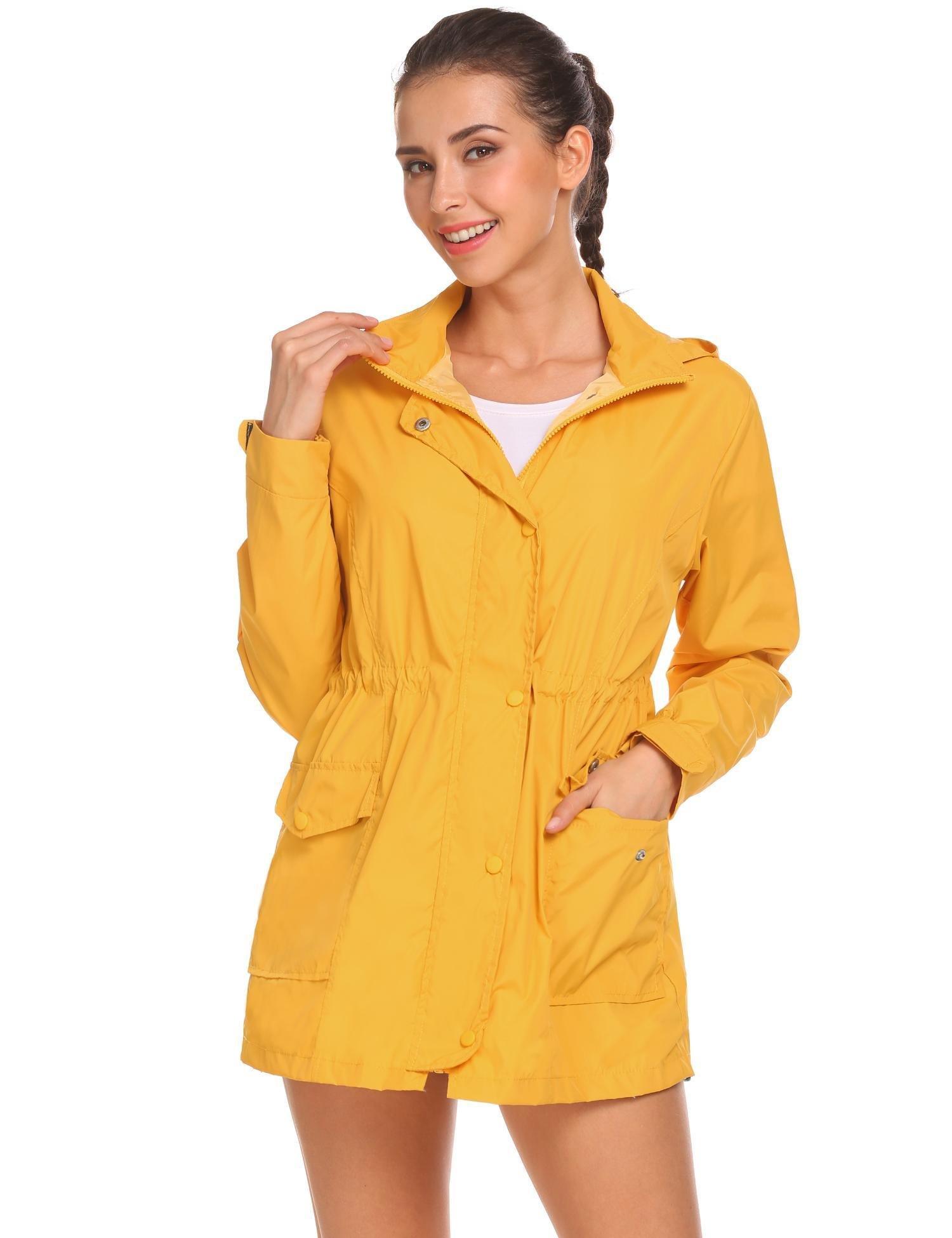 Zeagoo Women's Waterproof Zip Up Hooded Lightweight Windbreaker Outdoor Anorak Jacket Raincoat,Yellow,Medium