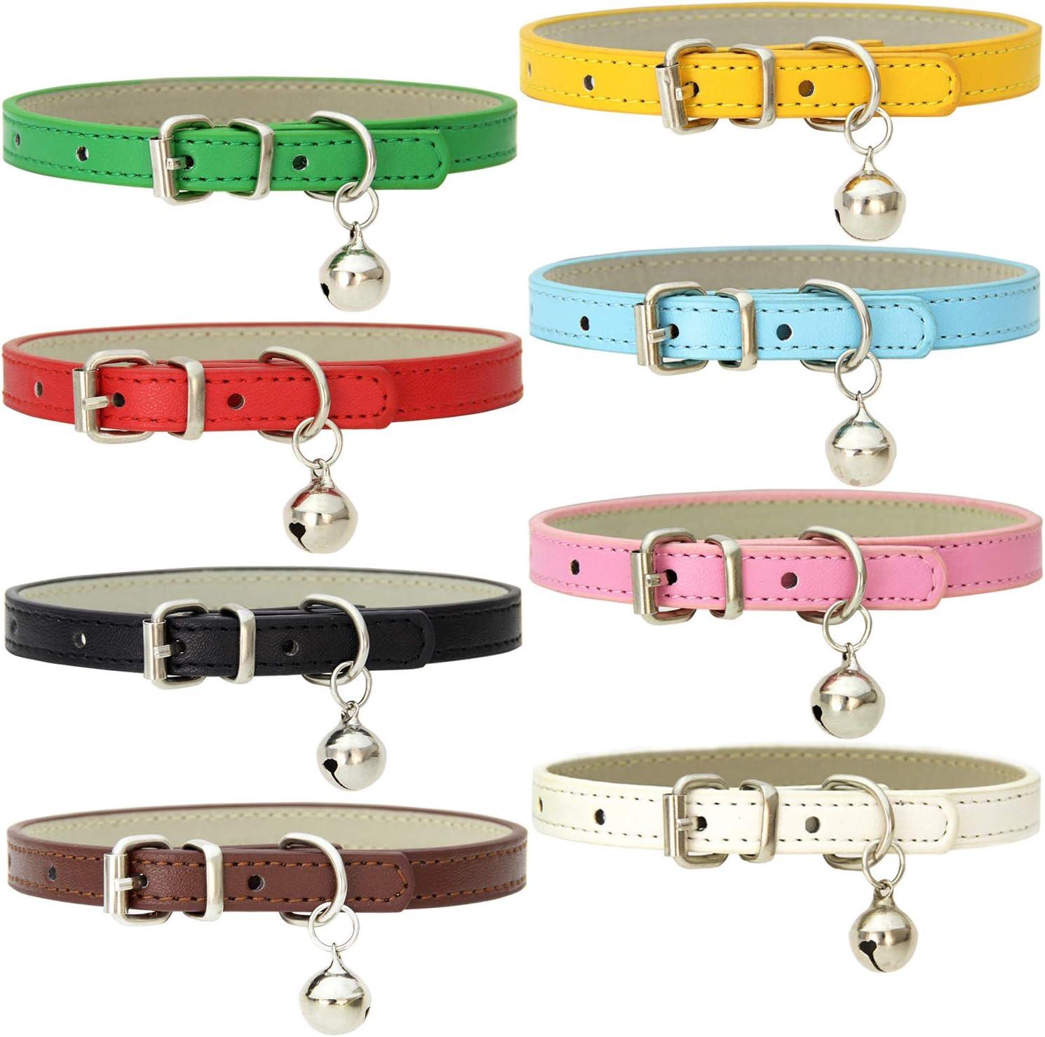 8 collares de cuero para gatos con campanas hechos a mano con hebilla de metal pulido duradero ajustable para mascotas pequeños animales al aire libre interior
