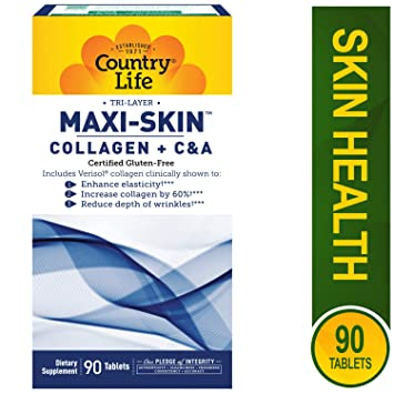 Country Life Tri-Layer Maxi-Skin Collagen Plus C&A - 90 Tablets - Enhance