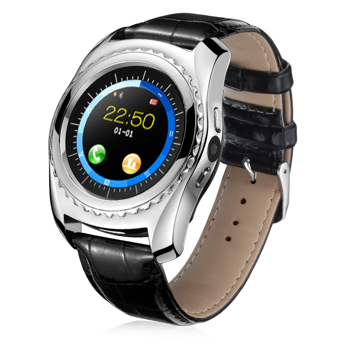 BOYA Smart watch with Sim card slot Memory card with heart rate blood pressure oxygen monitor touch screen round face pedometer for outdoor Sport experise health Camera Leather band (Silver)