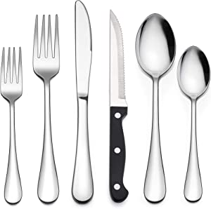 LIANYU 72-Piece Silverware Set with Steak Knives, Stainless Steel Cutlery Flatware Set for 12, Modern Eating Utensil Tableware for Kitchen Restaurant Hotel, Dishwasher Safe